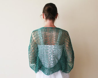 SALE! Knit Green Shrug / Knit Emerald Cotton Shrug Bolero / Green Cotton Loose Shrug Bolero / Khitted Green Summer Shrug / Ready To Ship