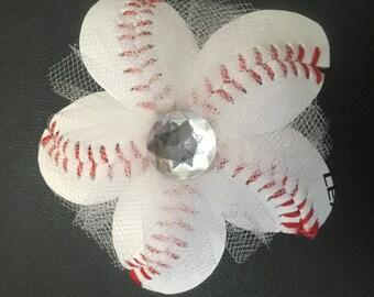 Baseball Flower Hair Clip