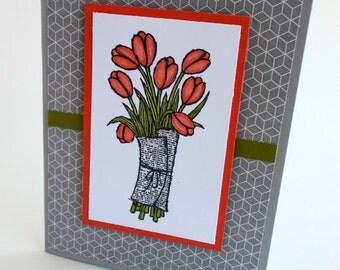Handmade any occasion tulips card