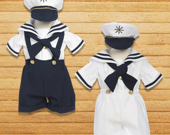 Baby Boy Nautical Marine Sailor Shorts Suit Costume with Hat, Birthday Halloween