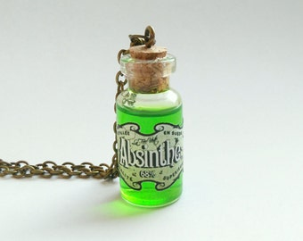 Absinthe Necklace | Gothic Necklace | Steampunk Jewelry | Bottle Pendant | bronze