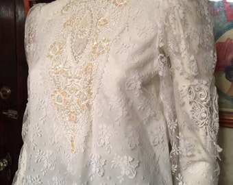 NEW Vintage 1990's McClintock White Victorian Blouse- Sequins, Pearls, and Lace: Oh My! NWT, Deadstock