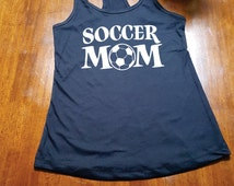 SOCCER Mom. Tank Top. Racer Back. Cute Tank. Workout Tank Top. FREE SHIPPING