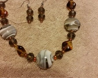 Amber and Variegated Glass Bead Necklace  & Earring Set