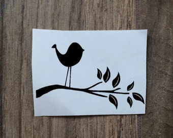 Bird and Branch Decal Sticker / Animal Decal Sticker / Yeti Bird Sticker / Car Decal Bird On Branch / Nature Decal Sticker