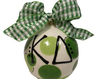 KD Kappa Delta Sorority Handpainted Ceramic Christmas Ornament
