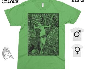 Eve and the Serpent - Walter Crane  T-shirt, Tee, American Apparel, Art, Illustration, Garden of Eden, Forbidden Fruit, Cute Gift