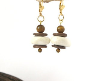 Earring, white and Brown, wood stone Tiger eye beads, nickel free