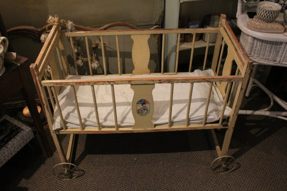 JUST REDUCED! Antique Yellow Wooden Baby Crib