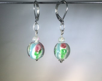 Rose Glass Bead Earrings - Silver Tone