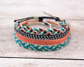 Surfer Bracelet or Anklet, Braided Bracelet or Anklet, Friendship Bracelet, Waterproof Wax Cord, Boho Anklet, Stacking Bracelets, Flat Braid