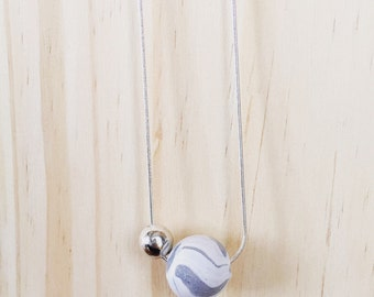 Polymer Clay Marble Bead Necklace