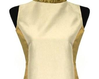 Golden -Champagne Taffeta Top/Ruffled Victorian Collar/Gothic Shirt/Steampunk Top/Ruffled Organza Collar /
