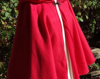 Short Fleece Cloak - Red Full Circle Cloak Cape with hood