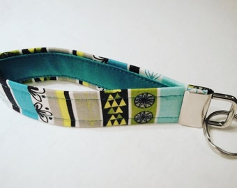 key chain, strap key chain, fabric key chain, key fob, strips, blue, green, yellow, geometric