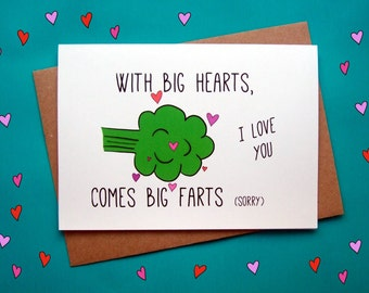 Funny Valentines Card, Anniversary Card, Fart Card, I Love you, Boyfriend Card, Girlfriend Card
