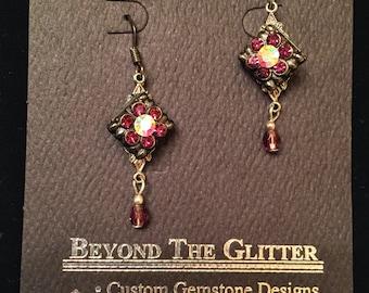 Vintage Czech Glass Purple Earrings