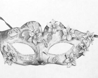 Venetian Mask - Original Pencil Drawing