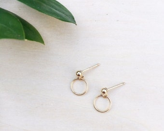 Gold Hoop Earrings / Drop Hoop Earrings / Hoop Earrings /
