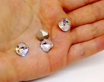 Crystal Clear Cushion Rhinestone, Swarovski Faceted Crystal Fancy Stone, 4461, 12mm Crystal Bead, Classical Cushion, Embellishment, RC8416