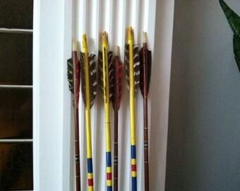 set of 6 vintage arrows for home decor, nursery, office den, lodge or cabin.