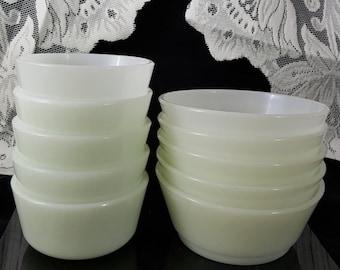 Vintage Milk Glass Bowls~ Fire King Ramekins~Milk Glass Anchor Hocking Custard Cups~Milk Glass Ramekins~Set of Ten Bowls