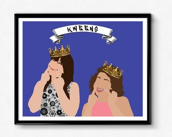 Broad City Kweens Poster- Abbi and Ilana Minimalist Print, Yas Kween