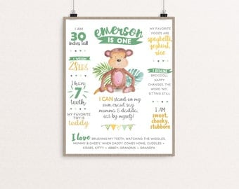 Little Monkey First Birthday Poster