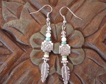 Southwestern/Boho/Silver Feather Earrings