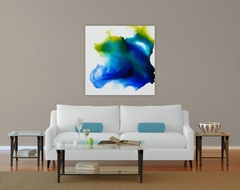 """Original painting, ink, abstract, 24x24"""", blue, green, teal, yellow, clear coat varnish"""