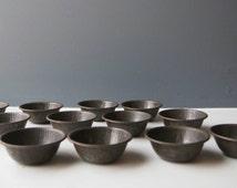 Set of 12 Vintage Individual Mini Pie Tins, Vintage Bakeware, Kitchenalia, Vintage Kitchenware, Pastry Case, Metal Muffin Mould, Patty Tins