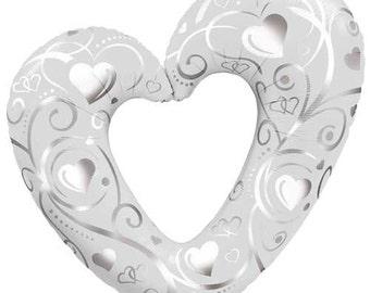 "White Wedding Heart Balloon-42"" Foil Balloon- Engagement Balloons"