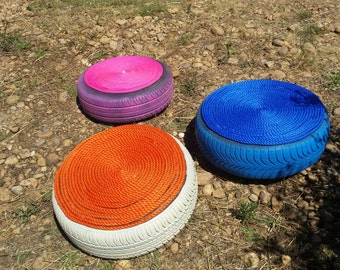 pouf of garden or inside hand made
