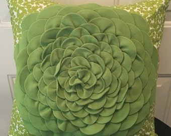 Green Felt Flower Pillow Cover