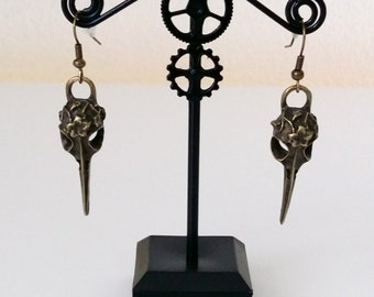Steampunk raven bronze earrings