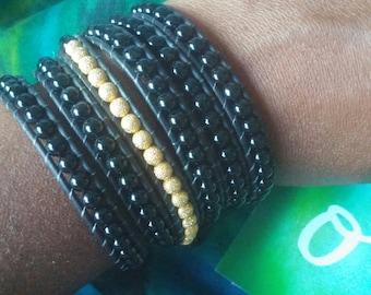 Black Onyx & Swarovski Gold Stardust Elements