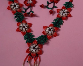 Mexican Red Flower Necklace