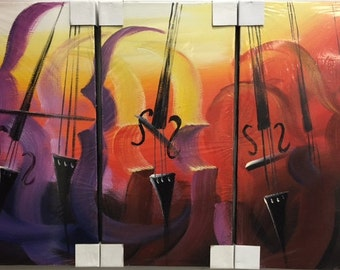 Violins Abstract Acrylic Painting