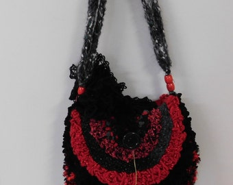 Handmade bag in stunning red and black