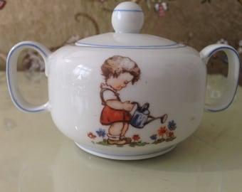 Vintage Sugar Bowl with childrens illustrations GDR porcelain