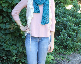 Handmade Crocheted Scarf - Teal