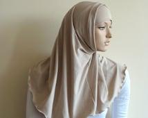 Flesh color Hijab Two Piece,Al Amira style,  Beige Hijab, Scarf handmade, Cotton hijab, prayer scarf, Muslim, islamic scarf, eid gift ideas