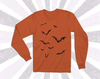 27 color options! Distressed Bat Halloween long sleeve shirt - Light weight - Spooky - Vintage - October - Black and Orange - Flying Bats