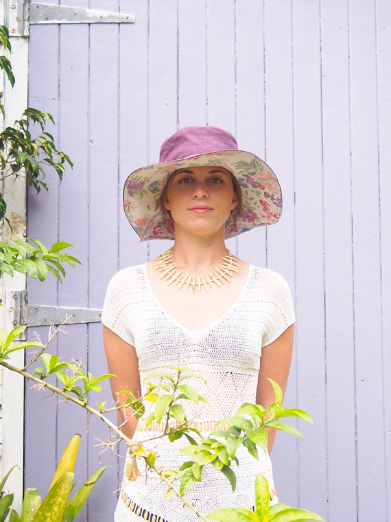Hemp / Organic Cotton & Vintage fabric Sun Hat