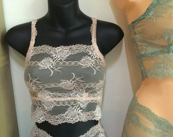 Sheer nude  floral lace crop top vest , sale item