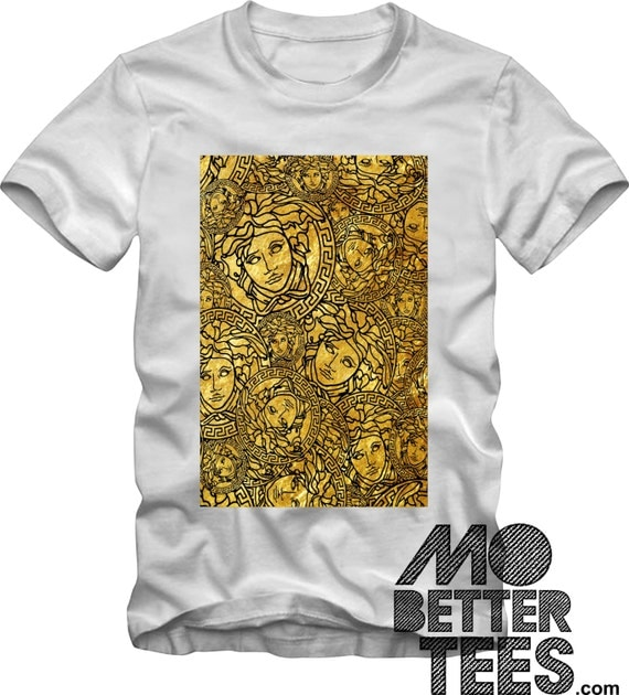 Medusa Head Medallion gold Graphic Tee T-Shirt Miami Versace Style