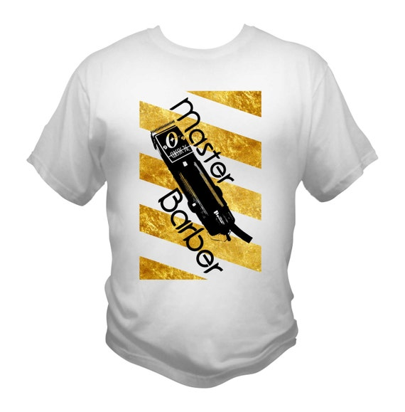 Master Barber T-Shirt White Gold Barber Pole Oster 76 Clippers
