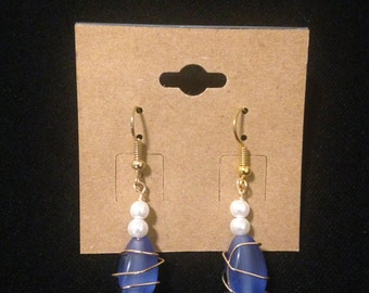 Wire-Wrapped Earrings with Pearls