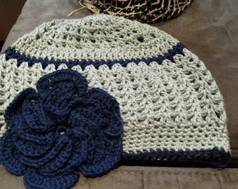 Sage Hat with navy highlights