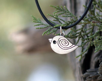 Little bird of silver - Silver pendant - Simple - Animal  jewelry